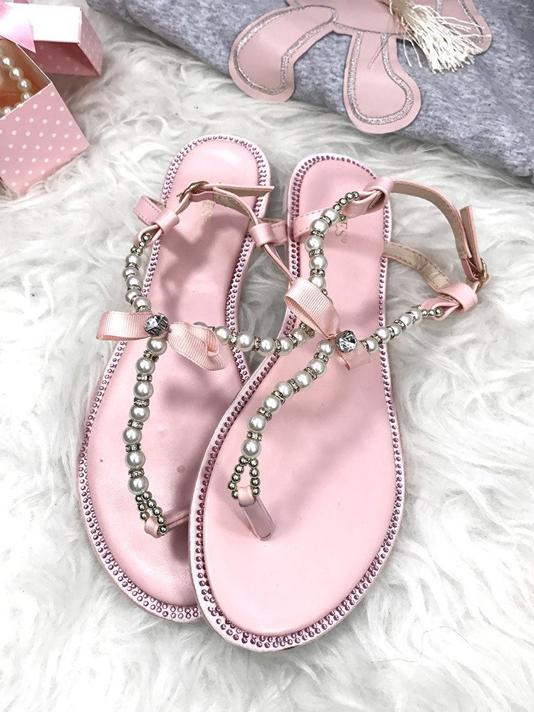 Flip-flops Flat Sandals with Pearls and Crystals
