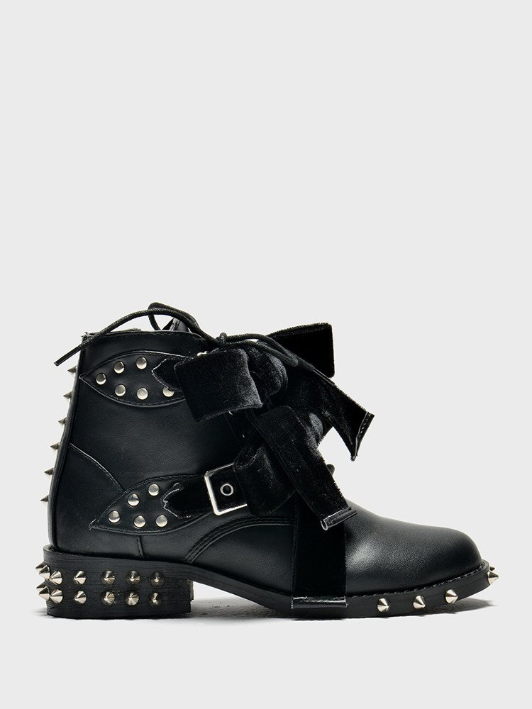 LU BOO BLACK ANKLE STUDDE BOOST WITH CUTE BOW