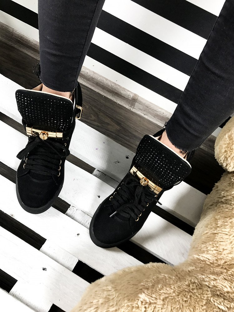LU BOO BLACK FAUX SUEDE WEDGE SNEAKERS GOLD KEY & PADLOCK