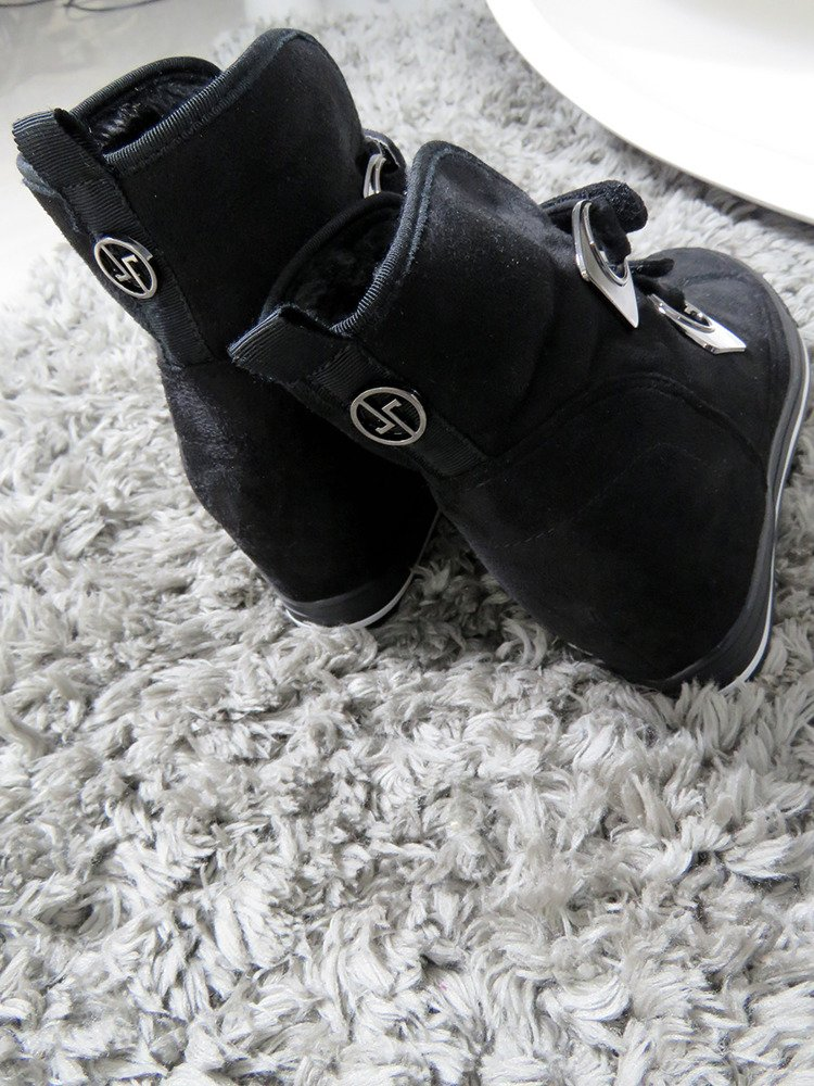 LU BOO COMFORTABLE black WARM SNEAKERS BOOTS WITH SOFT FUR