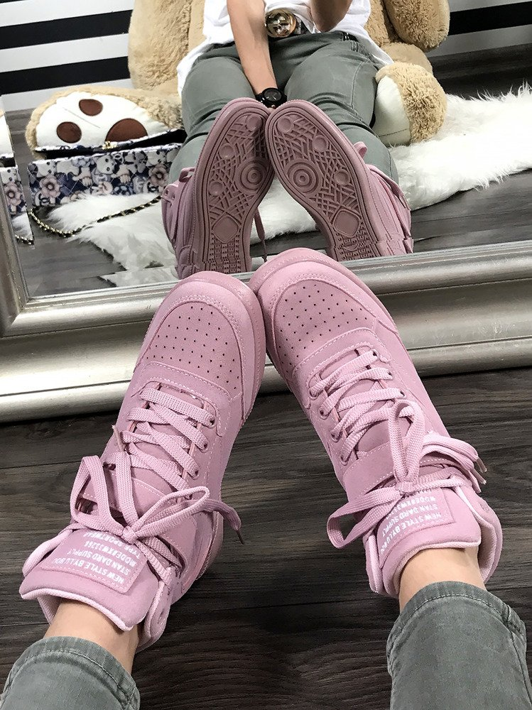 LU BOO PINK OPENWORK SNEAKERS WITH HIDDEN WEDGES MADE OF FAUX SUEDE