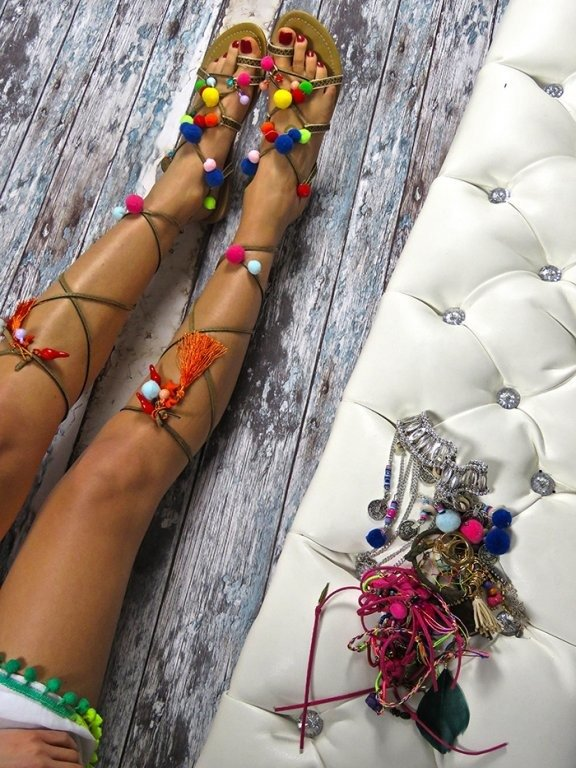LU BOO Pompom Sandals Lace-up