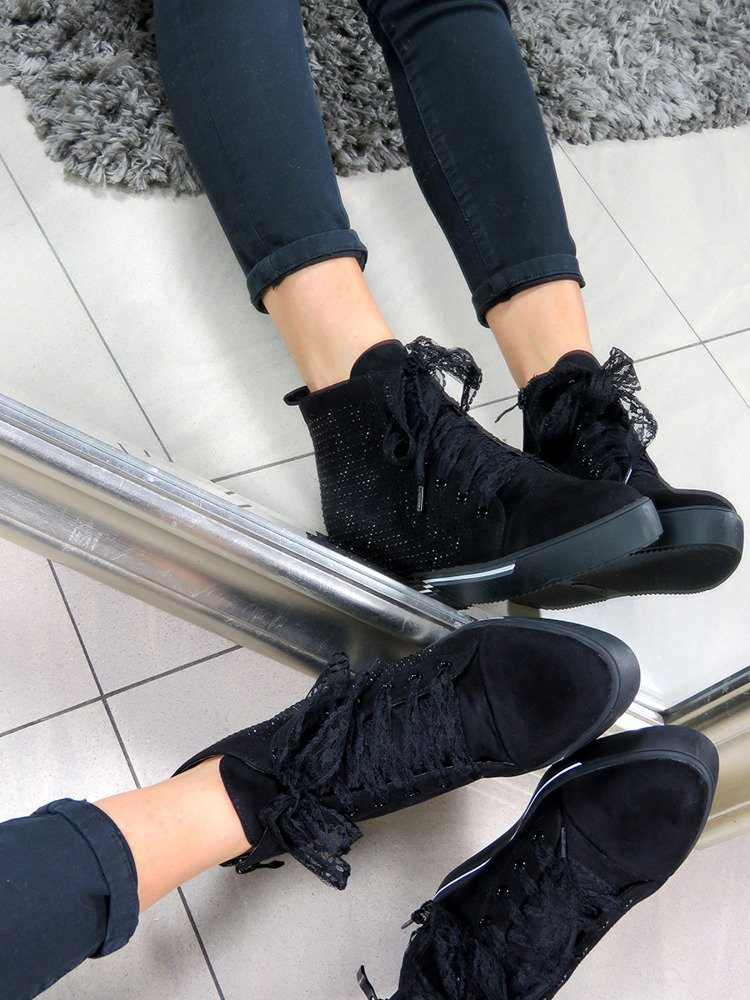 LU BOO THE FAUX SUEDE SNEAKERS SHOES SPIKE CRYSTALS