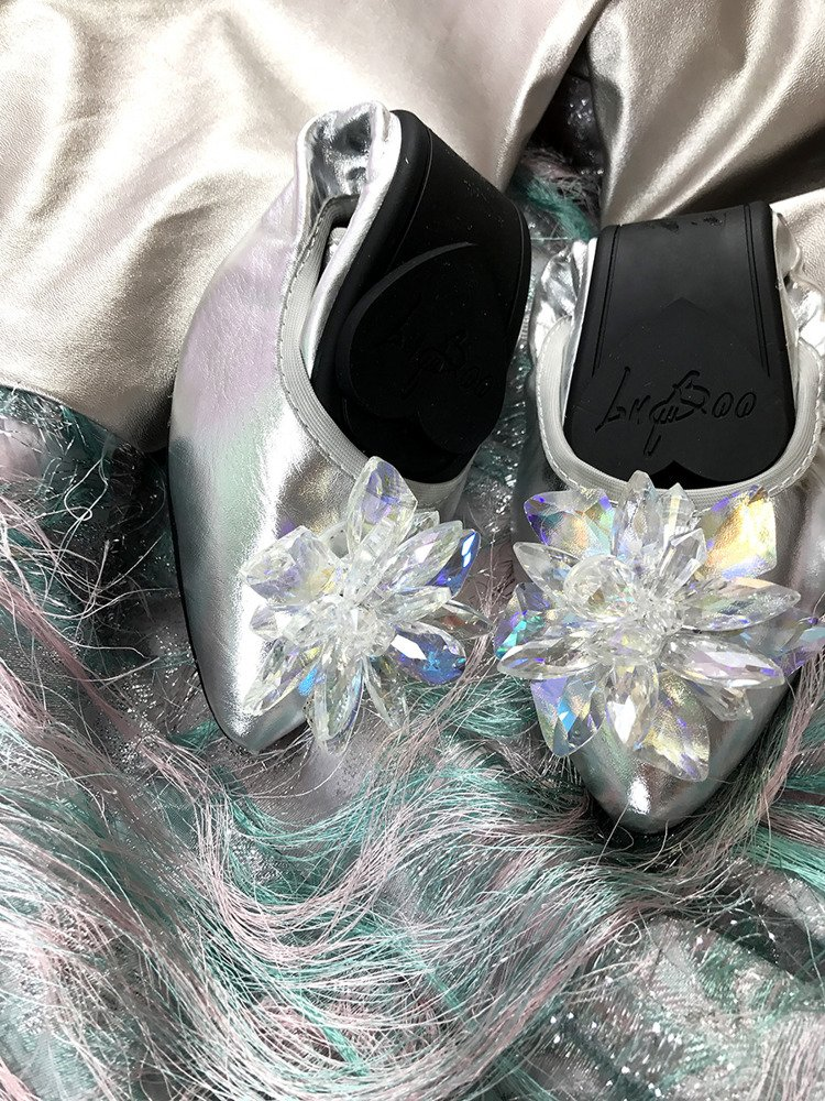 Lu Boo silver ballerina shoes with glossy crystals