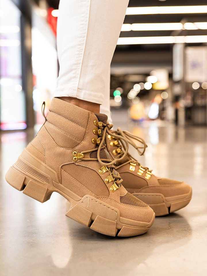 Sand Micro Chunky Lace-Up Sneakers nude