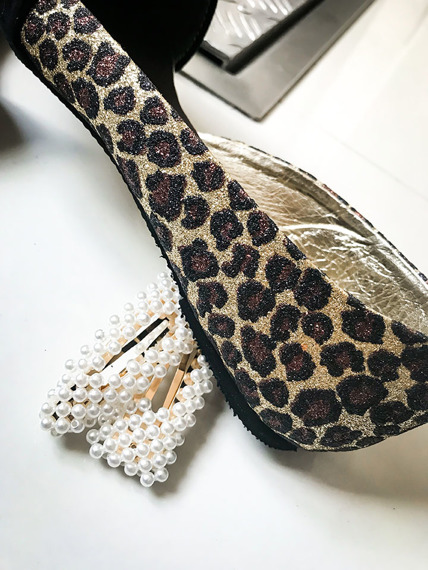 Asymmetric Ballerina Flat Shoes Leopard