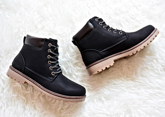 BLACK WINTER BOOTS WARM BOOTS LACE UP