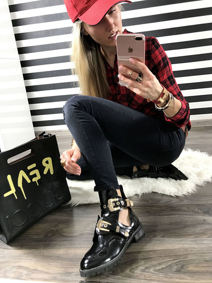 Black Patent Cut Out Boots