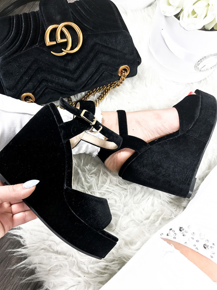 Black Suede Platform Wedges