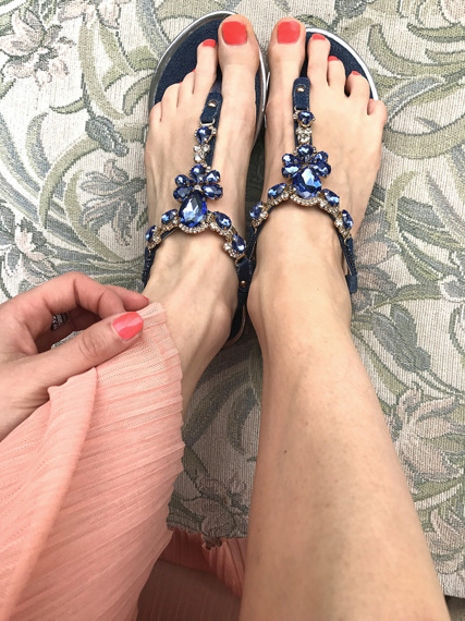 Embellished t-bar flat ankle strap sandals Pacific