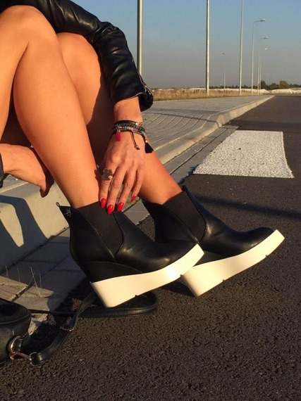Exclusive Wedge Boots White Sole