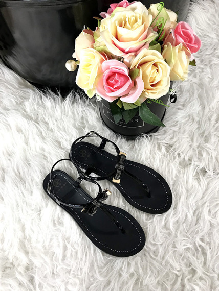 Flip Flop Black sandals with crystals Lili