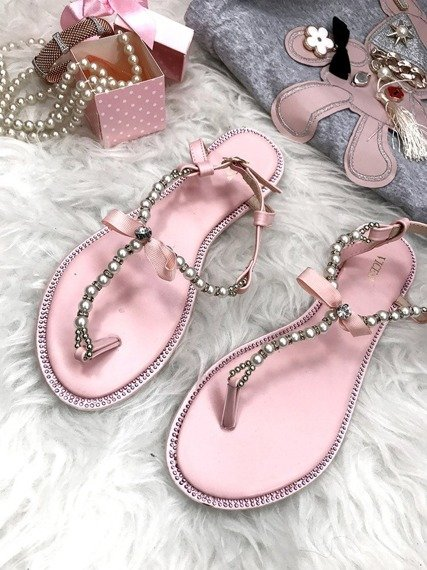 Flip-flops Flat Sandals with Pearls and Crystals Adela