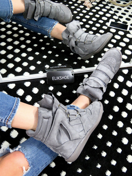 Grey Faux Suede Wedge Sneakers Alvino