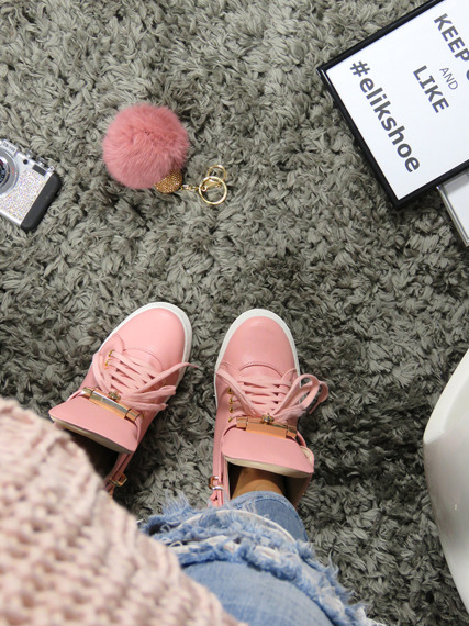 Hi Top Pink Sneakers Gold Key & Padlock