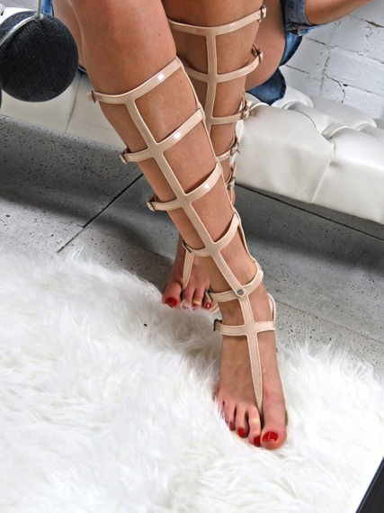 LONG BEIGE GLADIATOR  SANDALS ANCIENT GREEK