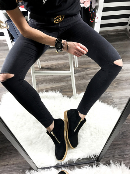 LU BOO BLACK ANKLE SHOES WITH FANCY ZIPPERS