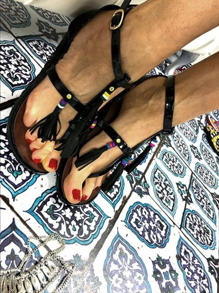 LU BOO BLACK SANDALS TASSELS SUMMER BEACH