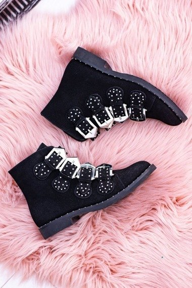 LU BOO BLACK VINTAGE ANKLE BOOTS WITH STUDDED BUCKLE AND LOW HEEL