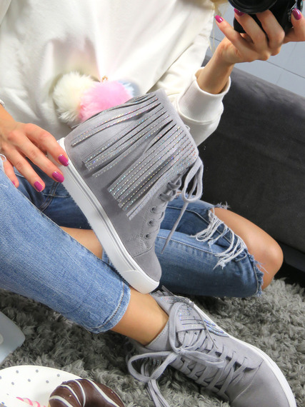 LU BOO Fringe Trainers Wedge Grey Ankle Boots High Platform Sneakers