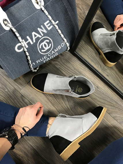 LU BOO GREY ANKLE SHOES WITH FANCY ZIPPERS