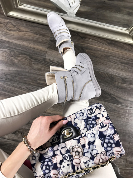 Grey Hi Top Sneakers Wedges With Fancy Zips