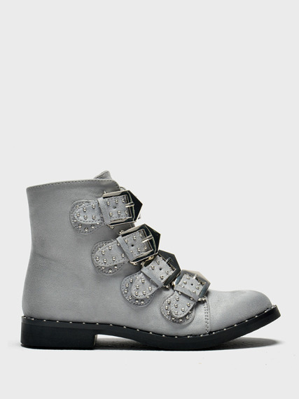 LU BOO GREY VINTAGE ANKLE BOOTS WITH STUDDED BUCKLE AND LOW HEEL