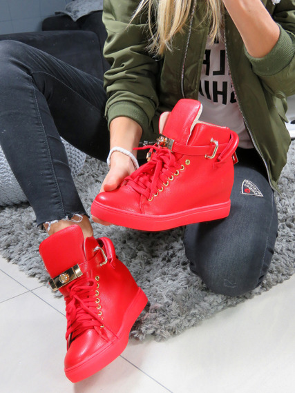 Hi Top Red Sneakers Gold Key & Padlock