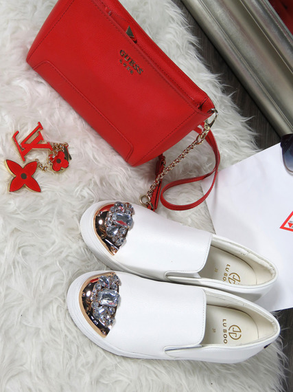 White Slip On Shoes With Glitter Jewels