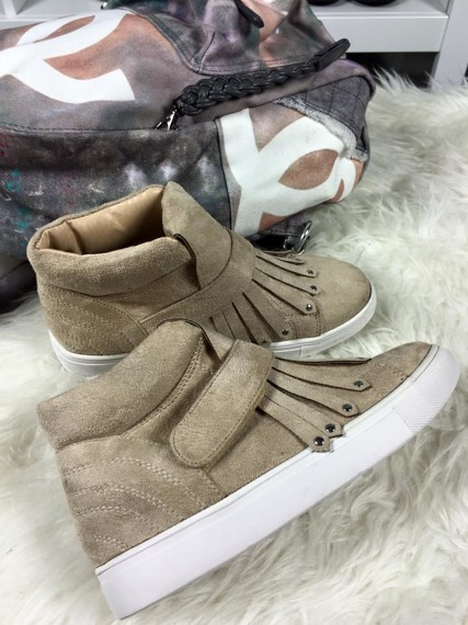 LU BOO TRAINERS SNEAKERS SUEDE SLIP ON FRINGE
