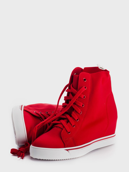 Red Sneakers Wedge Lycra
