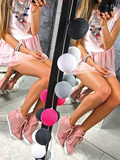 Pink Faux Suede Sneakers Shoes Spike Crystals