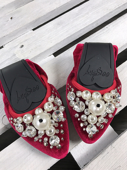Lu Boo burgundy ballerina shoes with pearls