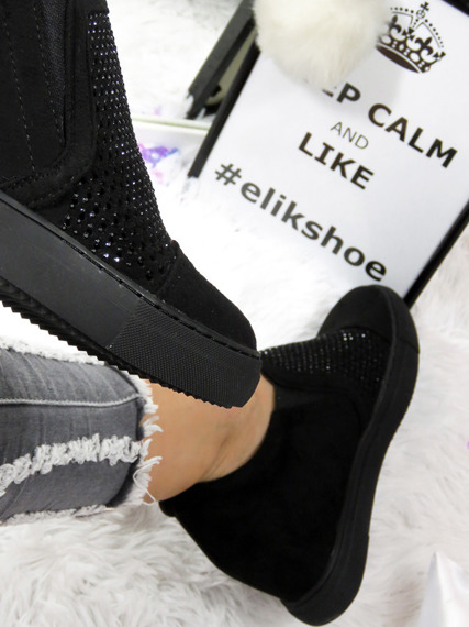 Lu Boo slip on sneaker wedges with crystals