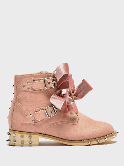 Pink Ankle Studded Boots Kids Lola