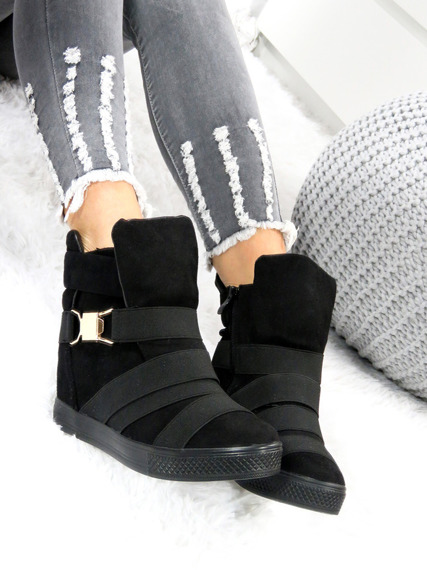 Black Sneakers Suede Trainers Wedge