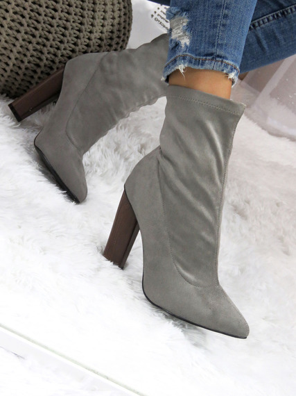 SUEDE ANKLE HIGH BOOTS SLIP ON