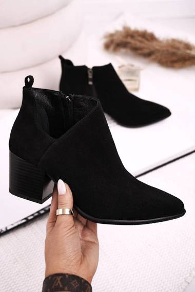 Women's Boots With A Cut On Block Heel Suede Black Lawrence
