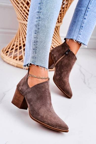 Women's Boots With A Cut On Block Heel Suede Brown Lawrence