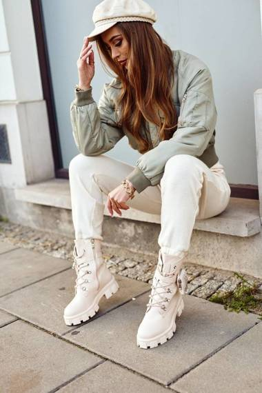 Women's Boots With Small Bag Beige Seul