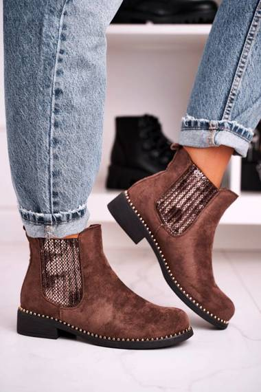 Women's Chelsea Boots With Studs Suede Brown Meagan