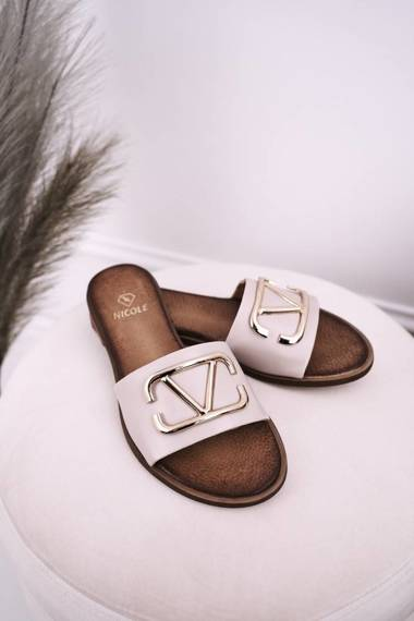 Women's Classic Leather Slippers Beige Evie