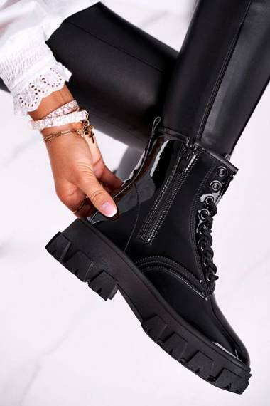 Women's Flat Boots Lacquered Black Linzo