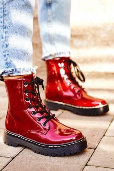 Women's Flat Boots Red Kognito