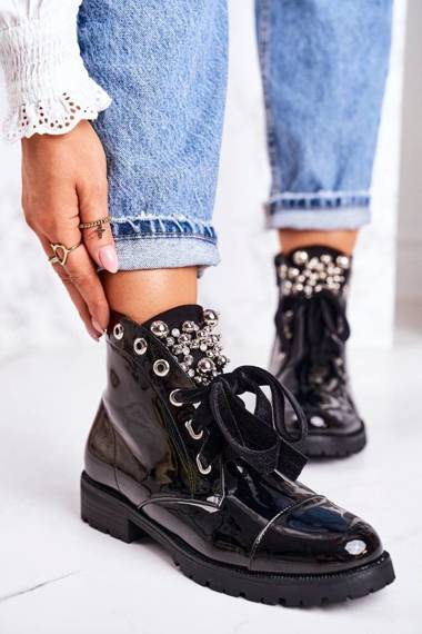 Women's Insulated Boots With Metal Pearls And Ribbon Shiny Perla