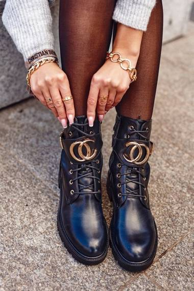 Women's Lace-up Boots Black Gold