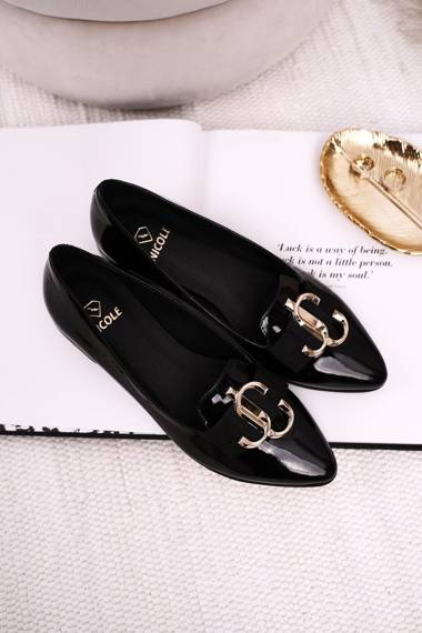 Women's Moccasins Leather Lacquered Black Nicole