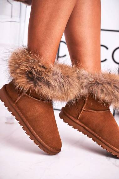 Women's Snow Boots Leather With Fur Camel Snow Fox