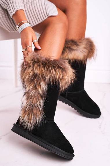 Women's Snow Boots With Fur Leather Suede Black Balvin