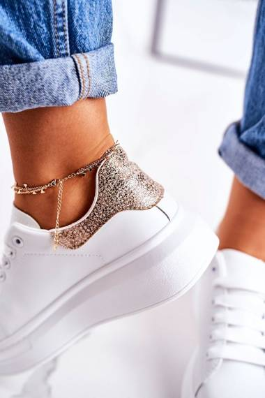 Women's Sport Shoes Sneakers With Fly White Golden Amour